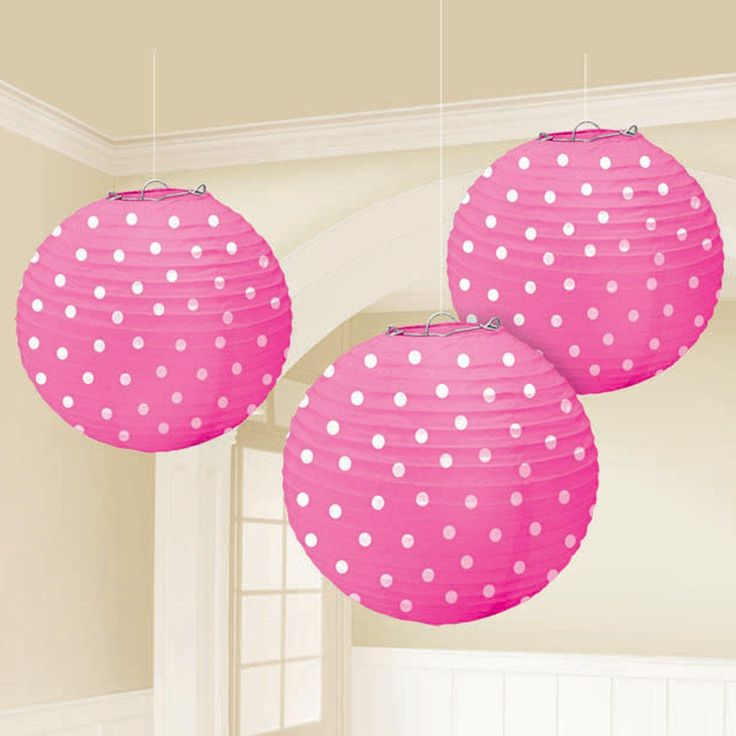 Bright Pink Lanterns with White Polka Dots, 87467