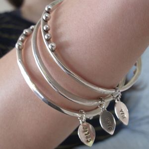 Set of 3 Bangles with Personalised Leaf Charms