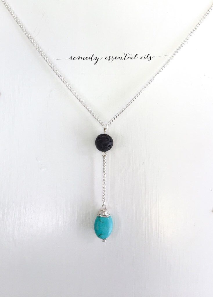 Lava Bead Essential Oil Diffuser Necklace; Turquoise Gemstone Drop; Aromatherapy Necklace; Lava Stone; Diffuser Necklace by RemedyEssentialOils on Etsy https://www.etsy.com/ca/listing/270746273/lava-bead-essential-oil-diffuser