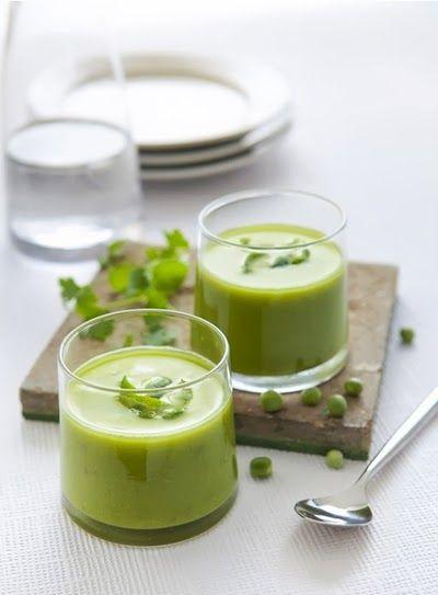 Crema de guisantes, cilantro y lima (Crème de petits pois, coriandre et citron vert)