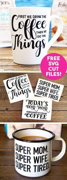 Make DIY Funny Coffee Mugs with these free SVG cut files for your Cricut or Silhouette machine! Custom coffee mugs make a great quick and easy gift idea!