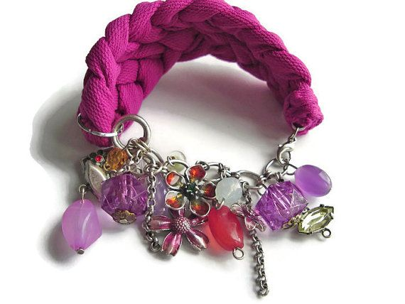 Hot Pink Bracelet Charm Bracelets Unique Design by DesignHappyDay