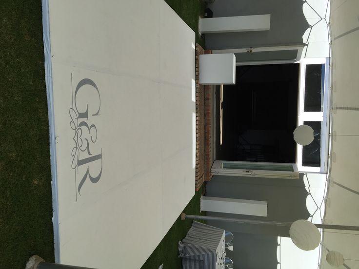 Grant & Robyn's wedding dancefloor with custom designed vinyl
