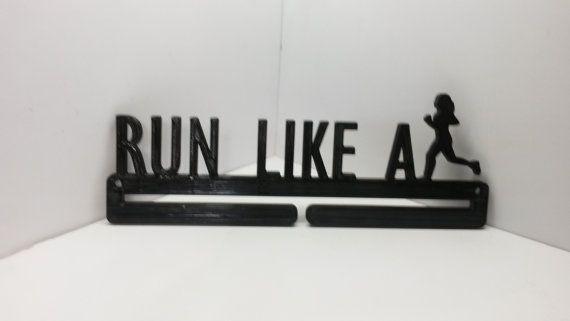 Run Like A Girl Running Marathon Sports Medal Display Medal