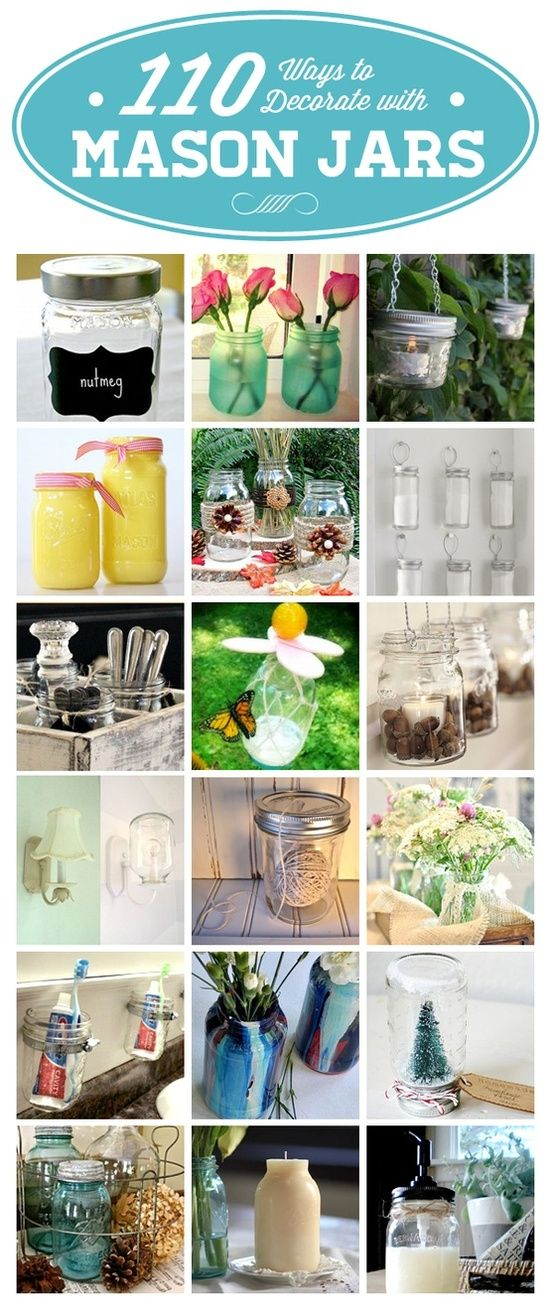 110 Ways to Decorate with Mason Jars — lamp, candle, storage, and decor ideas | http://tipsinteriordesigns.blogspot.com