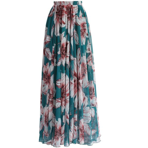 Chicwish Marvelous Floral Maxi Skirt in Turquoise (€56) ❤ liked on Polyvore featuring skirts, bottoms, multi, long blue skirt, blue camisole, long maxi skirts, long blue maxi skirt and blue skirt