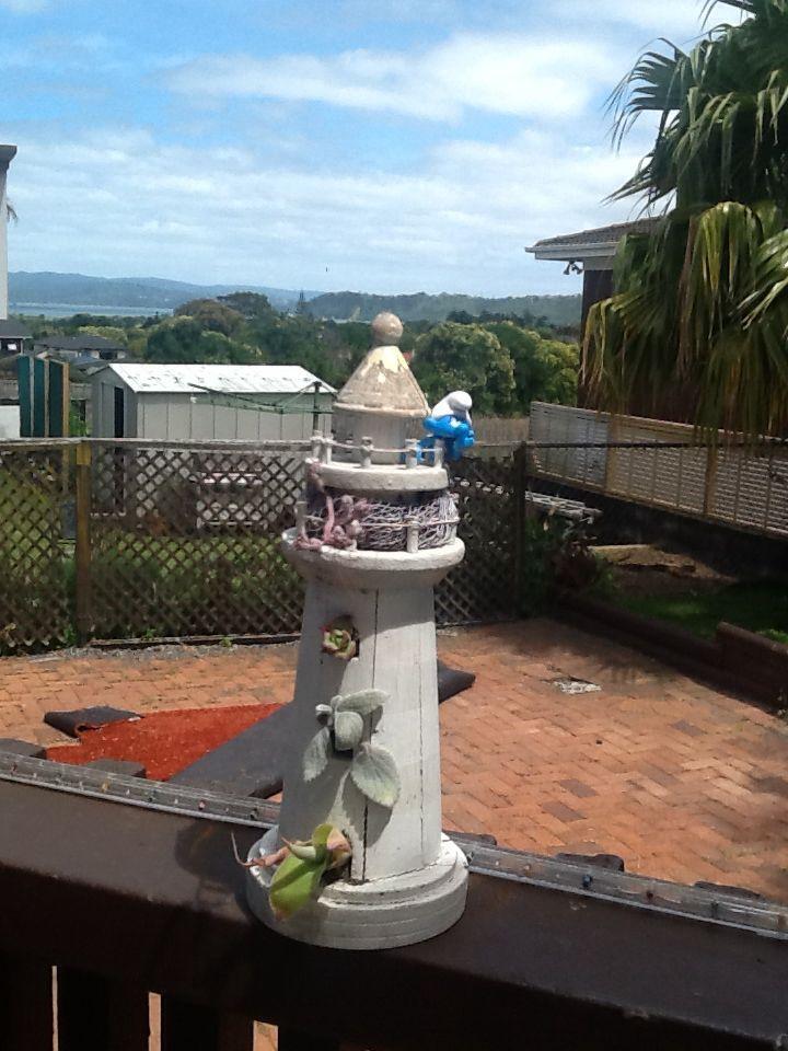 Lighthouse succulent garden
