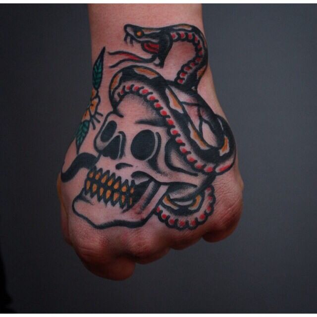 Traditional hand tattoo #skull & #snake