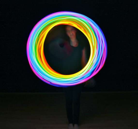 Rave-Ready Neon Toys - The Rechargeable Double Rainbow LED Hula Hoop Twinkles at Night (GALLERY)