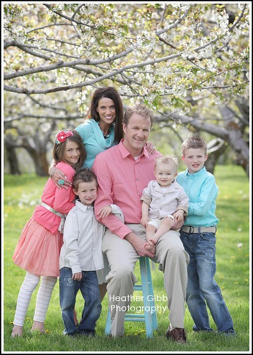 family picture with blossoms....SPRING. I wish Travis would do this color pallet