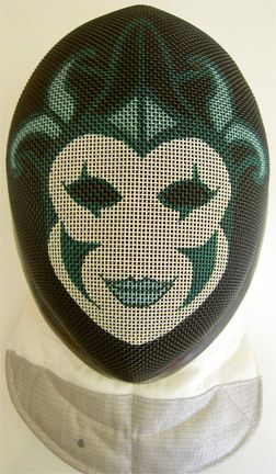 Custom-painted fencing masks at Pointed Comments