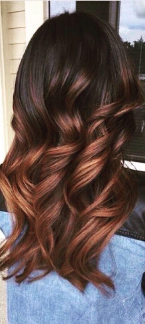 Long light auburn on dark brown...so gorgeous