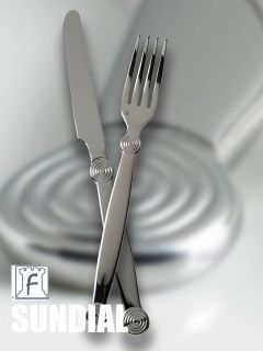 5 piece place setting includes:  table fork salad/dessert fork table knife  dessert/soup spoon coffee/ tea spoon features heft, weight and balance in hand Made from 18/10 stainless steel greater resistance to stains and rust, superior shine polished handles, edges and fork tines for long wearing use 360° design -design appears on front and back on every piece polished fork tines finely serrated knife blade and solid handles knives DISHWASHER SAFE makers mark on every item-craftsman symbol…