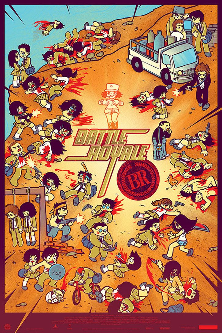 Pleased to be working with Mondo and Anchor Bay on the release of their new BATTLE ROYALE poster! Designed in collaboration by Bryan Lee O'Malley and Kevin Tong.     Promoters of successful BATTLE ROYALE screenings will get a poster while supplies last!