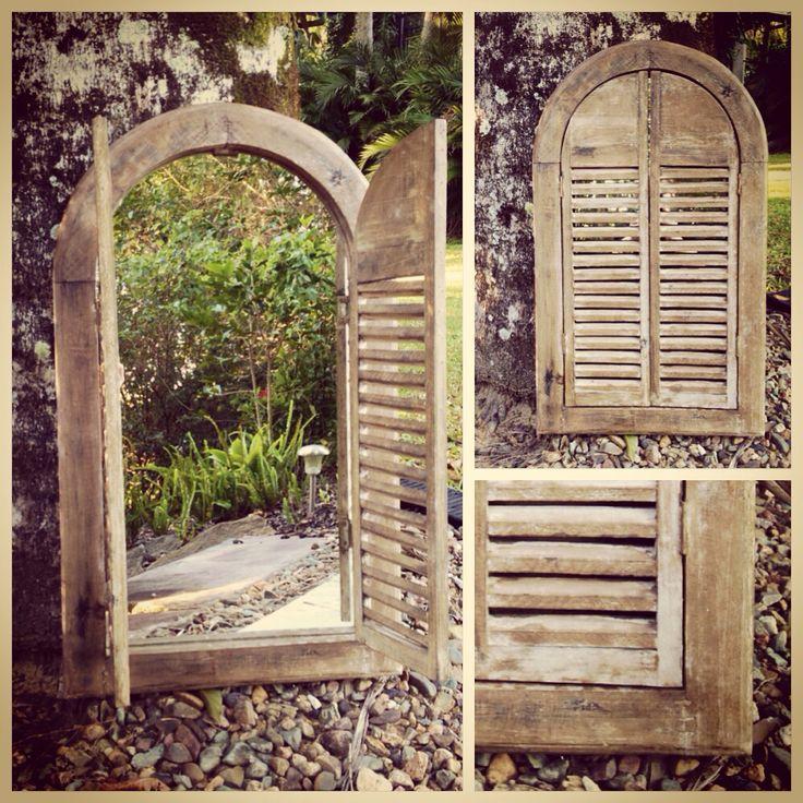 Gorgeous rustic wooden framed mirror with cute little slat shutters. wwww.coastweddingcreations.com.au