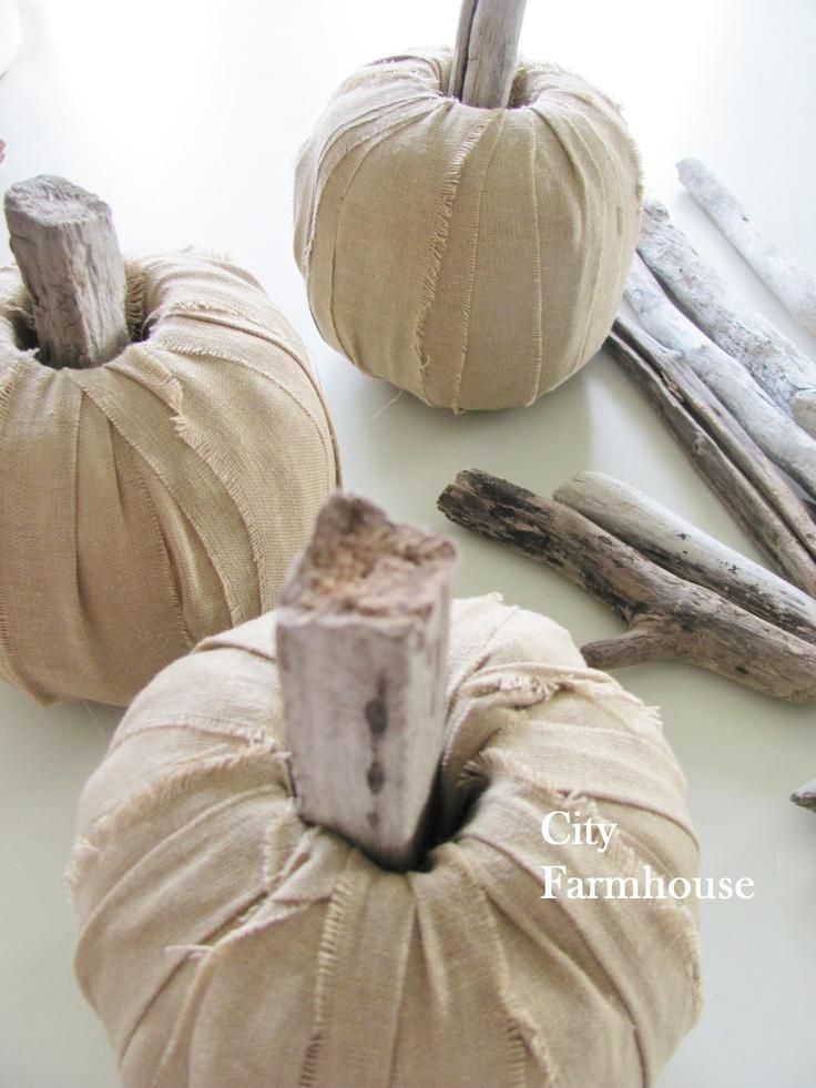 toilet paper roll, linen, and driftwood pumpkins