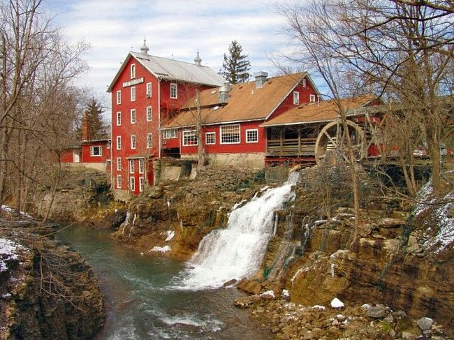 The Clifton Mill And Its Connecting Covered Bridge In