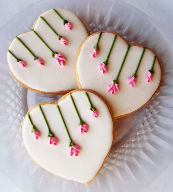 #Heart #Cookies with #Rose drops. Pinned by www.cookiecuttercompany.com