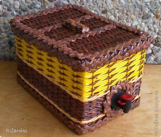 Поделка изделие Плетение Коробка для сока часть 2 Трубочки бумажные фото 2