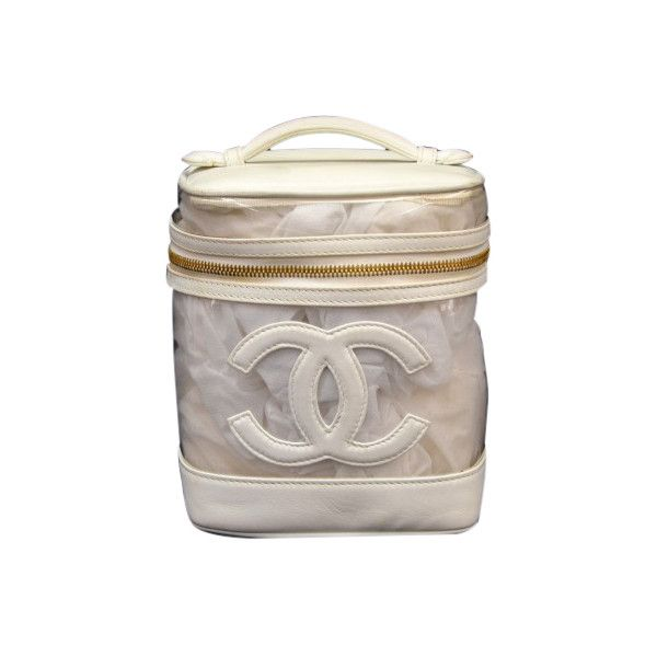 Pre-Owned Chanel Vanity White Leather x Vinyl Cosmetic Hand Bag (2.515 DKK) ❤ liked on Polyvore featuring beauty products, beauty accessories, bags & cases, white, wash bag, cosmetic purse, travel bag, make up purse and travel toiletry case