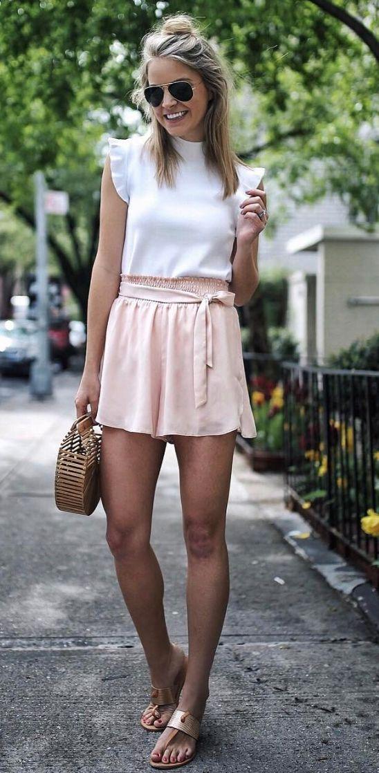 pink smock waist shorts