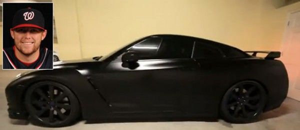 Washington Nationals pitcher Drew Storen and his blacked-out Nissan GT-R.