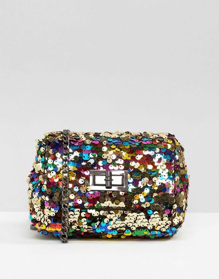 Image 1 ofSkinnydip Rainbow Sequin Cross Body Bag