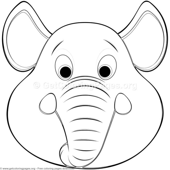 Elephant Animal Face Mask Coloring Pages Free Instant Download
