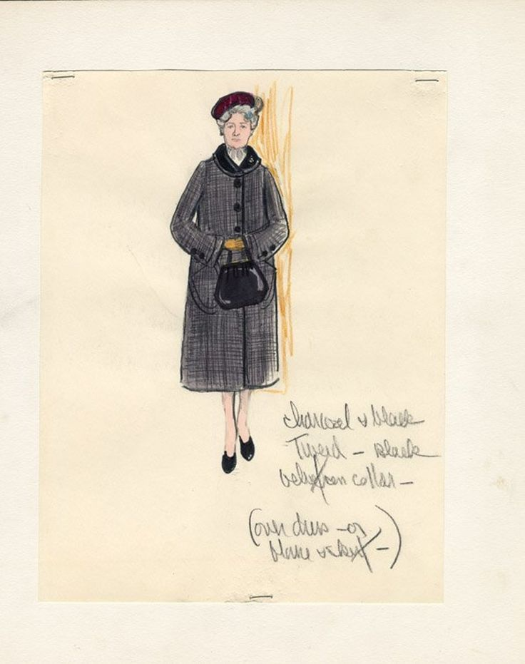 564: 2 Edith Head sketches - Helen Hayes in Airport - 2