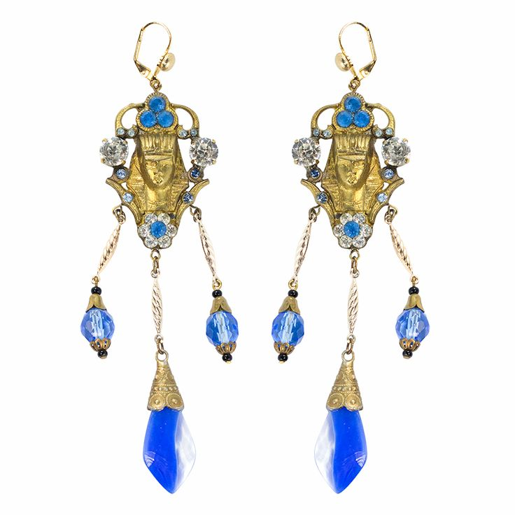 Vintage Egyptian Revival Motif Pendant and Blue Venetian Glass Earrings c. 1940s
