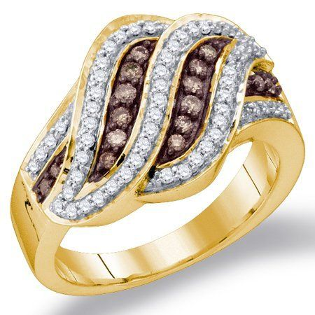 Chocolate Brown Diamond Ring Fashion Band 10k Yellow Gold (1/2 ct.tw.) Jewel Roses. $568.00. *** Real, Natural Diamonds ***. *** Product Included in Gift Box ***. *** Sold White Gold or Yellow Gold. Authenticated with Stamp ***. *** Free Standard Shipping ***. *** 30-Day Money Back Guarantee ***