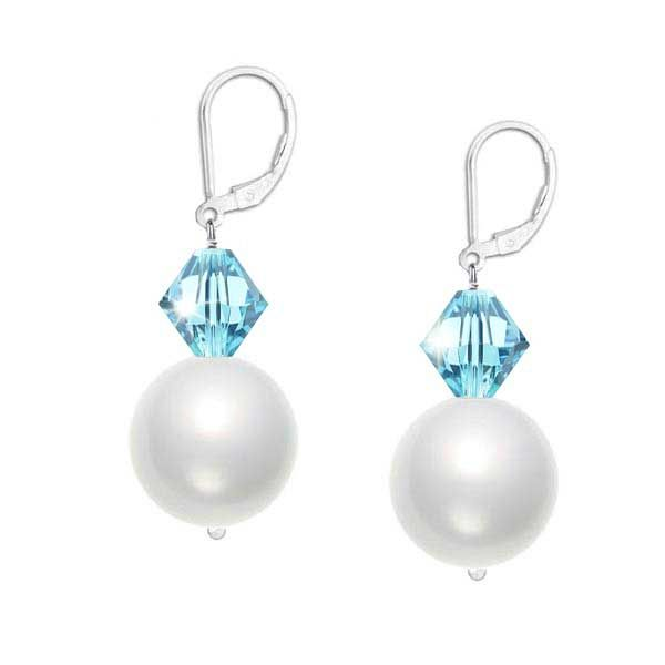 Lustrous 6mm crystal white Swarovski pearls and sparkling 4mm faceted aquamarine blue crystals hang delicately from a sterling silver leverback earring.
