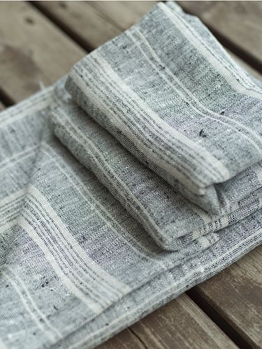 Black Natural Linen Multistripe Hand Towel Sets