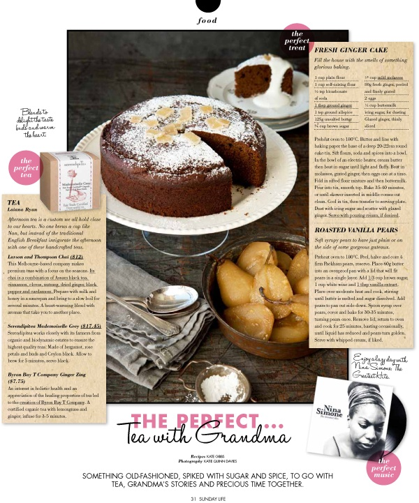 {recipe for…} fresh ginger cake and vanilla roasted pears