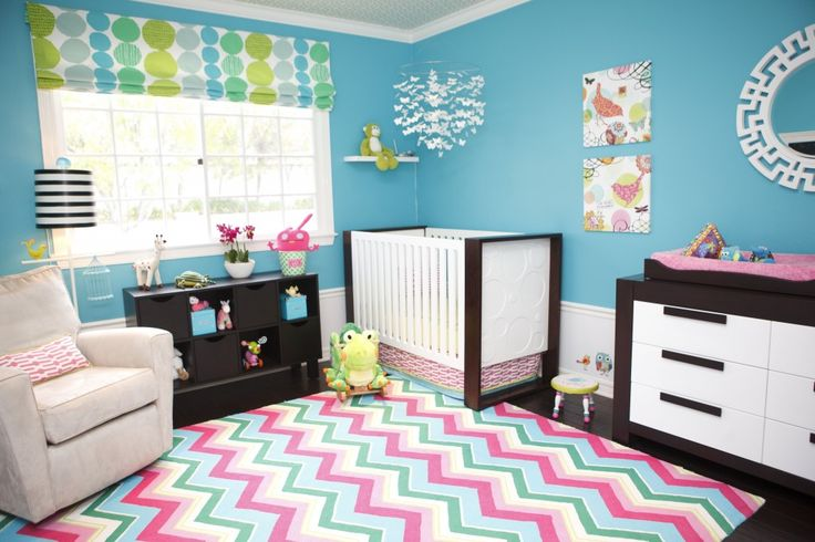 Andrika King Design Full Room, I love all the bright colors!  For a boy I think I would lose the pink though.