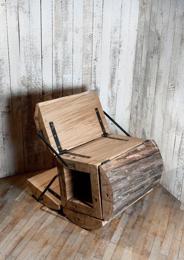 Het idee voor deze stoel ontstond door afval wat na de verwerking van hout overblijft opnieuw te gebruiken. Deze boomstam stoel kan je verschillende comfortabele posities zetten.