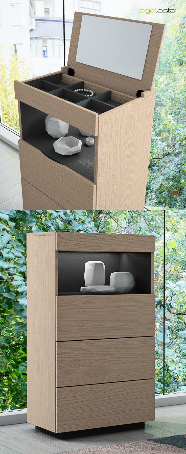 Egelasta · Mueble · Moderno · Madera · Mobiliario de hogar · Catálogo New Live · Noche · Dormitorio · Chifonier con tocador y espejo · Roble nórdico y laca antracita