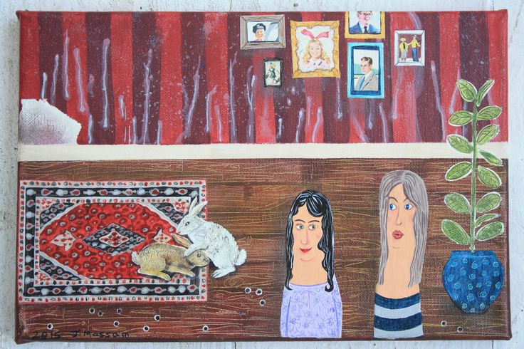 Julie Massam: acrylics and collage on canvas. Autobiographical themes