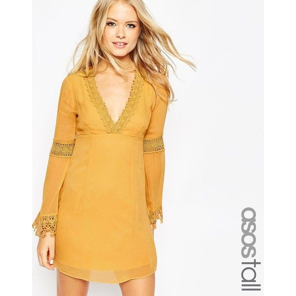 ASOS TALL Skater Dress with Lace Inserts and Fluted Sleeve (£14) ❤ liked on Polyvore featuring dresses, cream, yellow sleeve dress, yellow skater dress, crochet sleeve dress, zipper dress and yellow dress