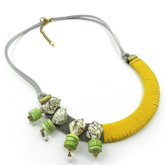 Quirky handmade bib necklace in faux leather and howlite stone in yellow gray and lime.   Unusual, funky and rather edgy, this bib necklace is a