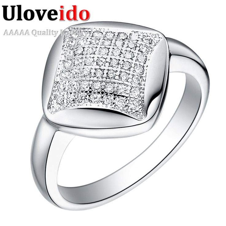 Find More Rings Information about Cute Silver Plated Czech Diamond Big Fashion Rings Jewelry Mirco Paved Wholesale Ring For Women 2016 Anel Feminino Uloveido J068,High Quality ring network,China ring group Suppliers, Cheap ring masonic from Ulovestore Fashion Jewelry on Aliexpress.com