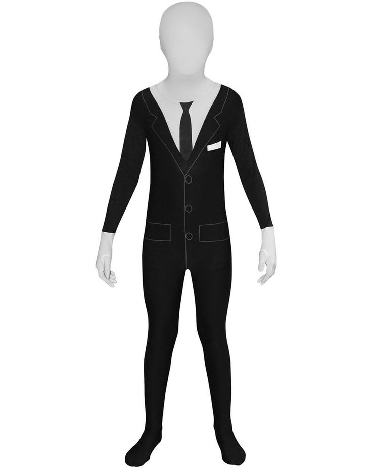 Large Childs Slenderman Halloween Scary Morphsuit Fancy Dress Costume