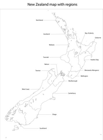 New Zealand Map with Regions coloring page from New