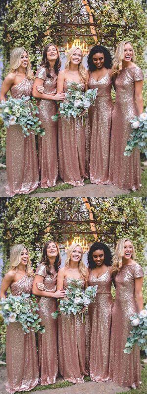 Mismatched Rose Gold Sequin Long Wedding Party Dresses,Bridesmaid Dresses, BD60 #Mismatched #Rosegold #Sequin #Longbridesmaiddress #Weddingpartydresses