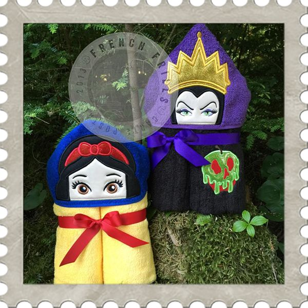 Evil Apple Queen & Apple Princess Duo hooded towel designs. #Embroidery #Applique