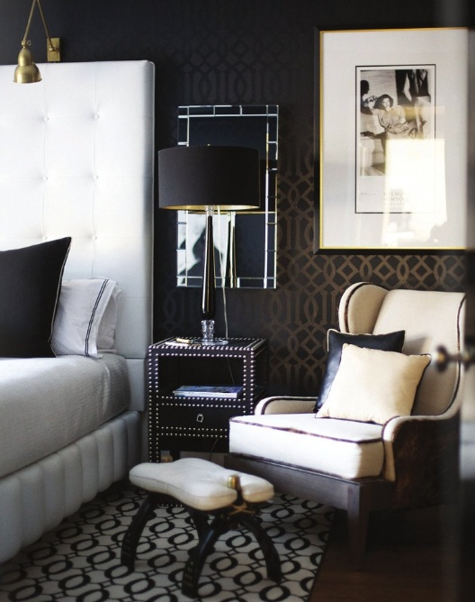 stark carpet; white leather bed, wingback, studded end table