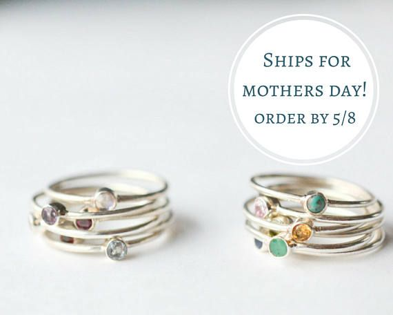 Mothers Day Ring  Stackable Birthstone Rings  Mom Ring