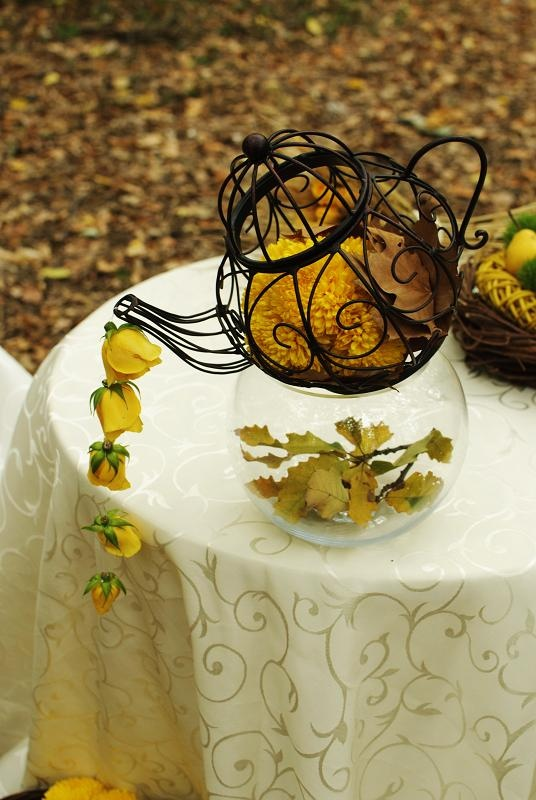 Autumn centerpiece, yellow, roses, ttd.  by Purple Effect Events