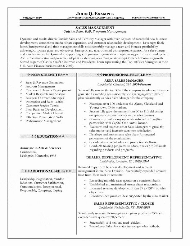 Automobile Sales Manager Resume Fresh Sales Manager Resume Sales Resume Examples Manager Resume Resume Skills