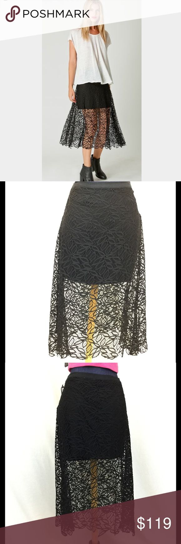"""LIBERTY GARDEN NEW Medium Lace Hi Low Maxi Skirt Stunning New w/ Tags Liberty Garden lace illusion skirt. Featuring an all over lace maxi over-skirt and black mini under skirt. Looks amazing with so many colors. You can tell by the vibe that this is a brand carried at Free People. Purchased at Nordstroms. One of those amazing pieces that can anchor your spring to fall wardrobe! Zipper. 100% cotton. Trim Polyester. Black. Approximate flat measurem.: Size Medium. waist 16 , length 28"""" at…"""